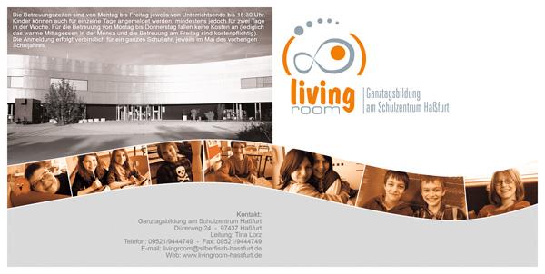 Der offizielle Flyer des living room, der Ganztagsbildung am Schulzentrum in Haßfurt, Unterfranken (Seite 1).