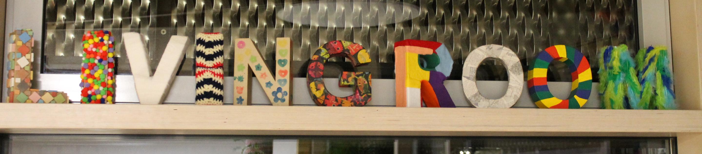 living room Buchstaben gestaltet